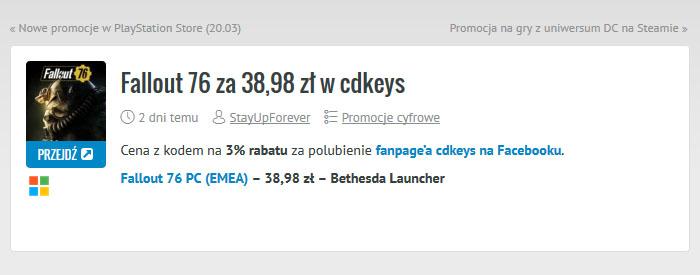 Fallout 76 za 38,98 zł